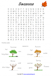 seasons worksheets word search find pdf