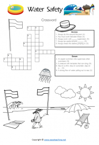 water safety worksheets crossword puzzle pdf kids