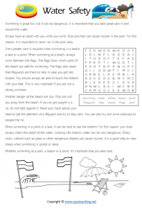 water safety worksheets reading text pdf