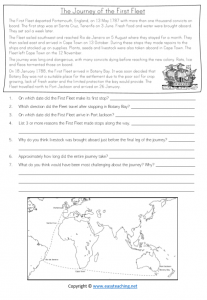 first fleet worksheets comprehension journey voyage convicts activity sheet year 4 grade 5 pdf
