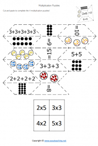 multiplication puzzle cut paste match activity year 3 grade 4
