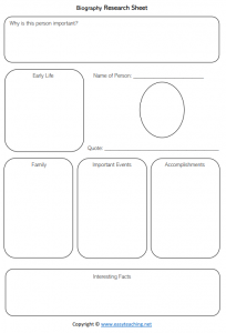 information report worksheets template planning research biography pdf