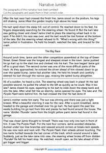 narrative writing worksheets jumble cut paste structure elements pdf
