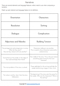 narrative writing worksheets features match structure pdf