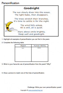 poetry writing worksheets personification poem poetic devices pdf