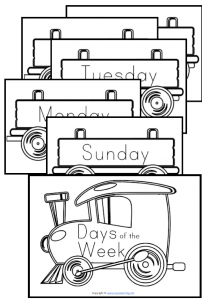 days of the week worksheets poster train pdf display classroom