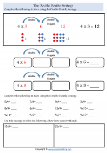 double double worksheets times tables strategy worksheets