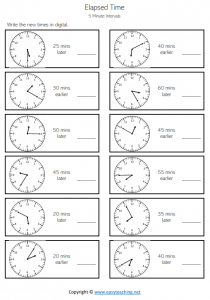 elapsed time worksheets 15 minutes quarter hour earlier later pdf answer key
