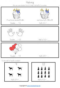 doubles strategy worksheet halving year 1 grade 2 prep ks1 pdf