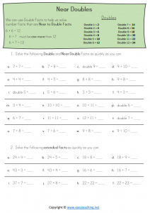 doubles strategy worksheets near doubles addition strategies pdf