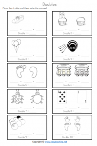 doubles strategy worksheet year 1 grade 2 prep ks1 pdf