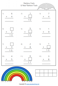 vertical rainbow facts worksheets number bonds friends of 10 pdf