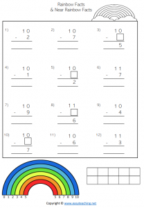 vertical rainbow facts worksheets number bonds friends of 10 subtraction pdf