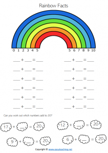 rainbow facts worksheets number bonds friends of 10 pdf