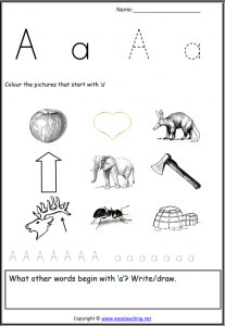 short a worksheets picture find initial pdf